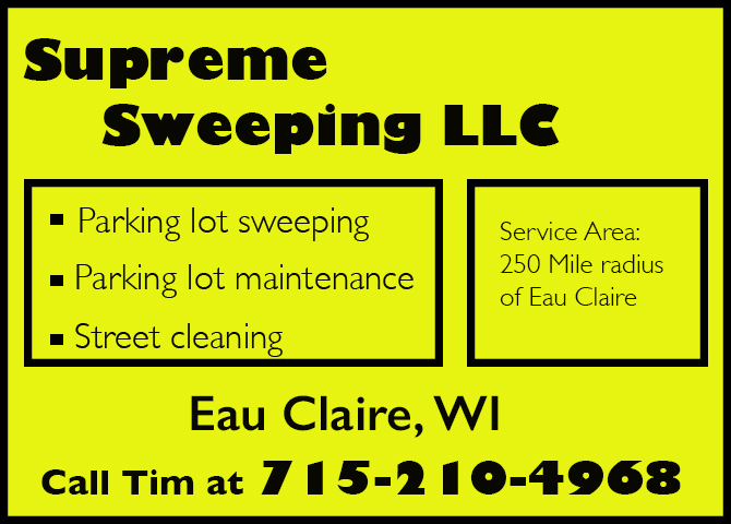 street sweeping parking lot sweepers New Haven Wisconsin Dunn County