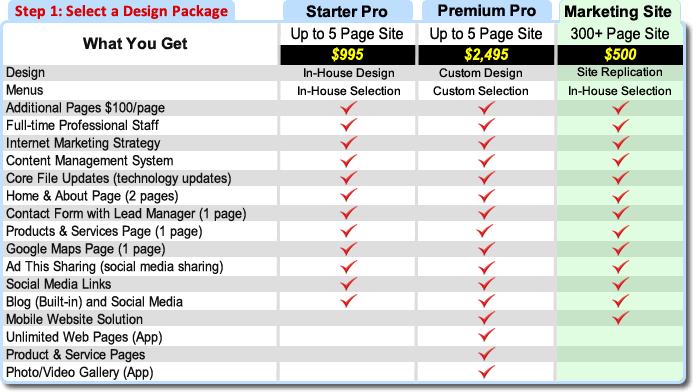 Step 1 Select a website design package