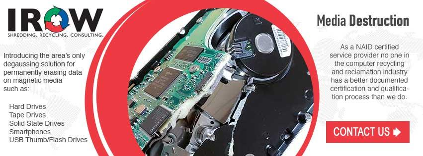 Media Destruction hard drive destruction service Hull Wisconsin Portage County